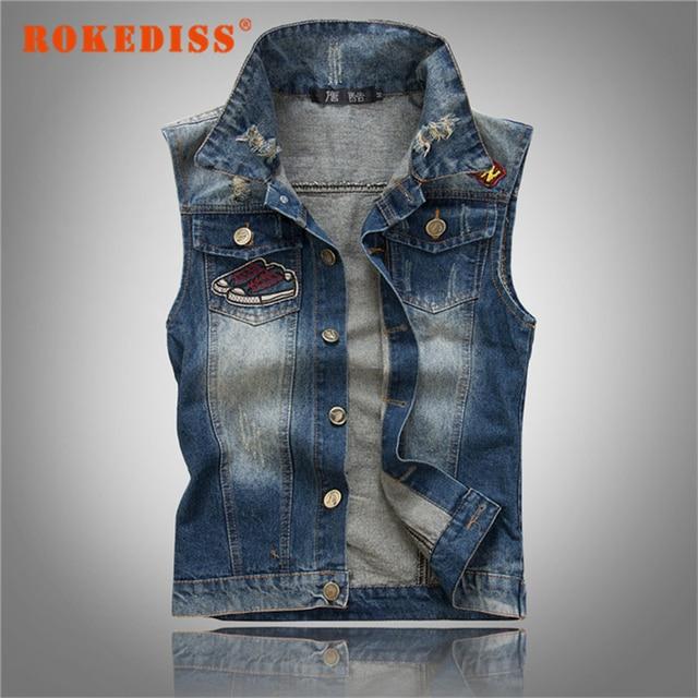 2017 New Arrival Fashion Hole Decoration Men's Denim Vest Brand Jeans Vest Men Cowboy Vest Denim Sleeveless Jacket G283