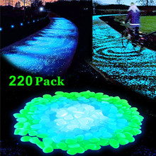 Balleenshiny 220pcs / lot Garden Ornaments Sten Glöd i mörkret Garden Luminous Pebbles Rocks for Walkways Fish Tank Decorations