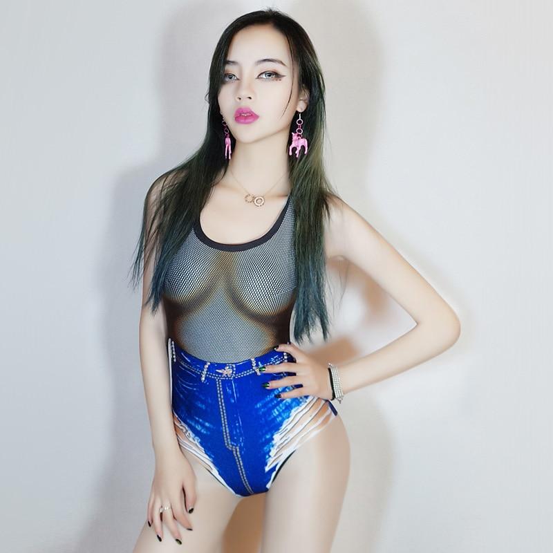 Sleeveless Sexy Bodysuit Bar Club Women Rompers Nightclub New Fashion Female Printed Fake Jeans Jumpsuit DJ Stage Wear Clothing