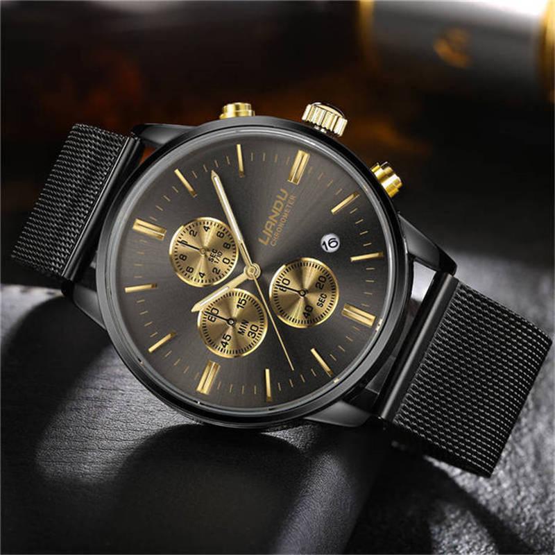 LIANDU Luxury Fashion Mens Chronograph Luminous Black Dial Quartz Watch Simulated Stainless Steel Mesh Watch with Gift Box