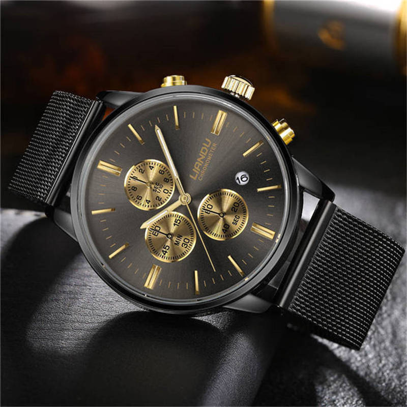 LIANDU Luxus Mode Herren Chronograph Luminous Schwarz Zifferblatt Quarz Uhr Simuliert Edelstahlgewebe Uhr mit Geschenk-box