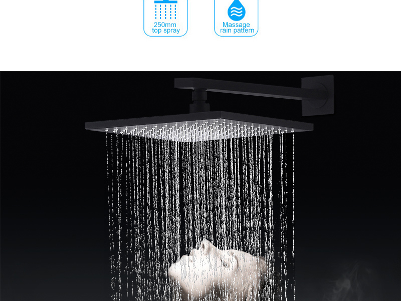 hm Black Bathroom Thermostatic Mixer Shower Faucet Set Wall Mount 10 Air Booster Rainfall Brass Shower System Head Save Water (5)