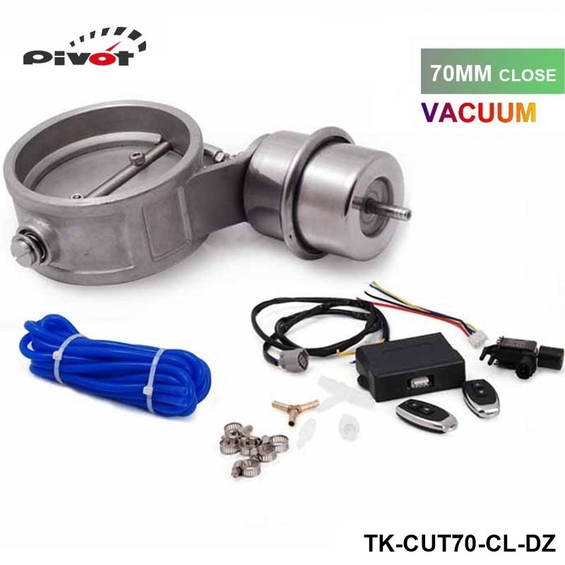 ФОТО Exhaust Control Valve Set With Vacuum Actuator CUTOUT 70mm Pipe CLOSE STYLE with Wireless Remote Controller TK-CUT70-CL-DZ