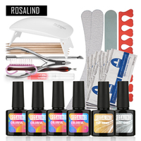 Rosalind UV LED Gel Sets Kits Soak off Gel Polish Gel Nail Kit Nail Art Tools Manicure Set Nail Art Nail Gel Base Top Coat