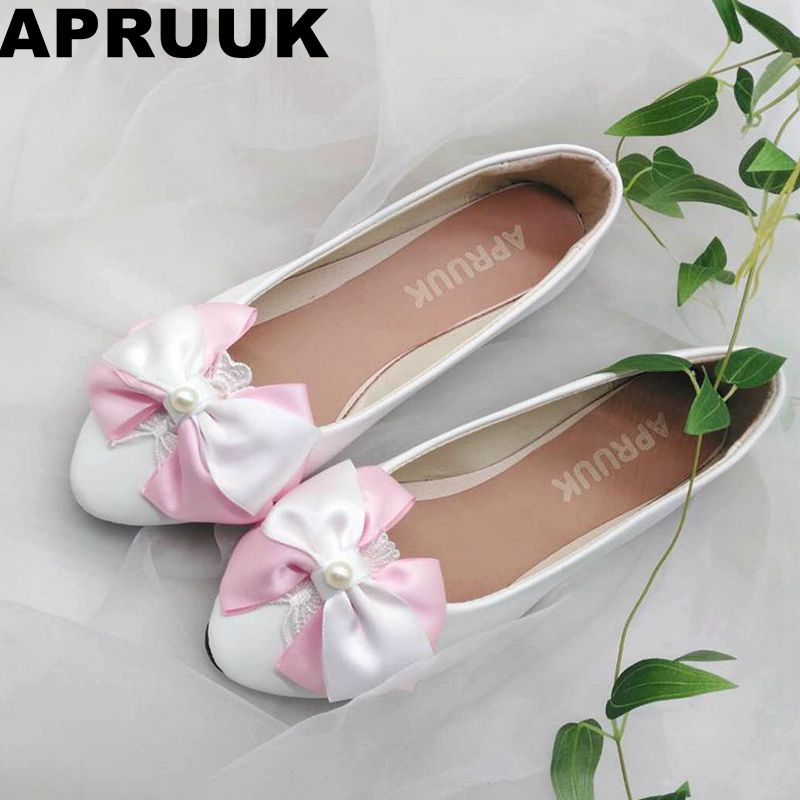 Sweet pink bow wedding shoes women satin butterfly-knot bowtie pearls  brides flat heel shoes custom made plus size shoes 22f6622ebedb