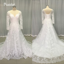 Real Picture Simple Wedding Dresses 2017 V-Neck Long Sleeves Open Back Long Sleeves Mermaid Wedding Gown Bridal Gown FW65