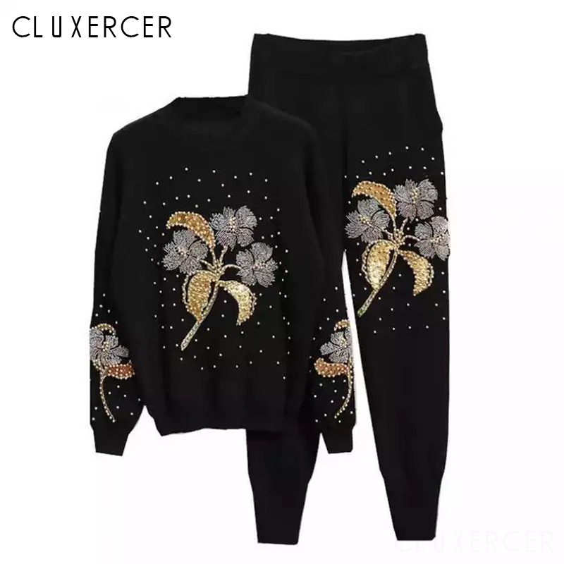 Flower Beading Tracksuit Women Two Piece Set Spring Autumn Street Sweater Top And Pants Suits Casual 2 Black Outfits