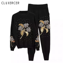 Flower Beading Tracksuit Women Two Piece Set Spring Autumn Street Sweater Top And Pants Suits Casual 2 Piece Set Black Outfits pearl beading black tracksuits women two piece set 2018 street t shirt tops and jogger set suits casual bodcon 2pcs outfits