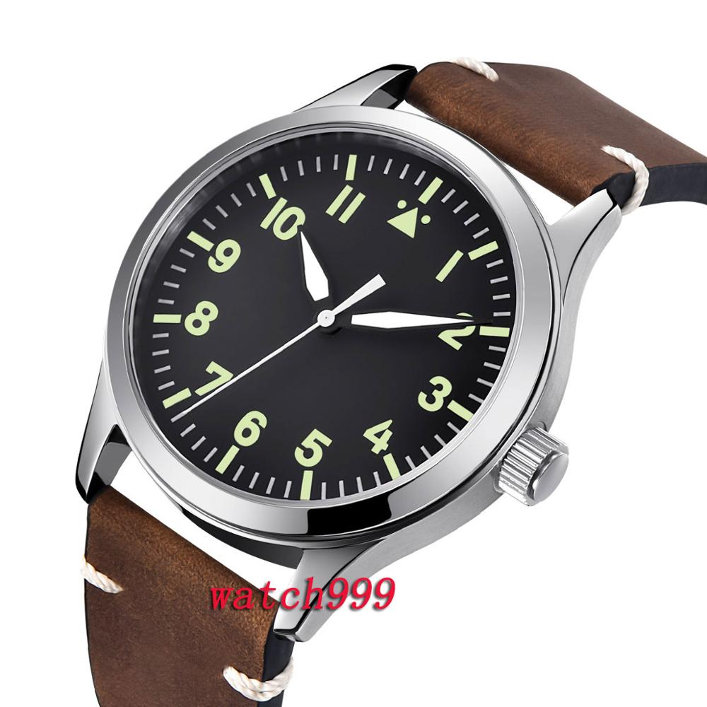 Mens Wristwatches Luxury Brand 42mm Corgeut Black Dial Mechanical watch Sapphire crystal Automatic Men s Watch