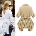 New Women Autumn Winter Casual Basic Trench Coat bandage bowknot Elegant Fold Full Sleeve Solid Loose Plus Size XL~5XL