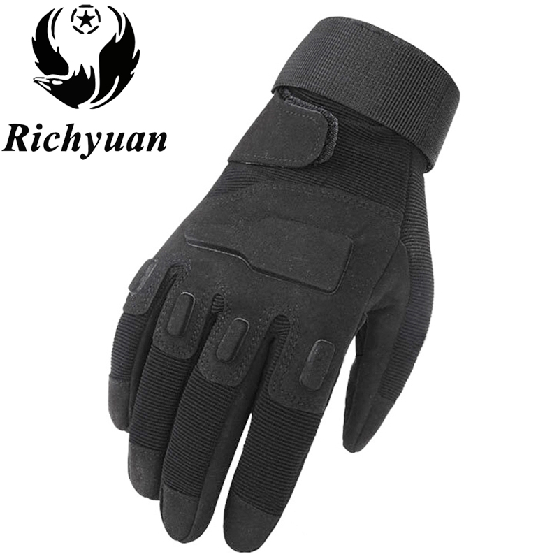 Richyuan Army Tactical Gloves Man Full Finger Gloves Military Police Safety Gloves Speed Dry Anti-Slippery Leather Gloves Winter