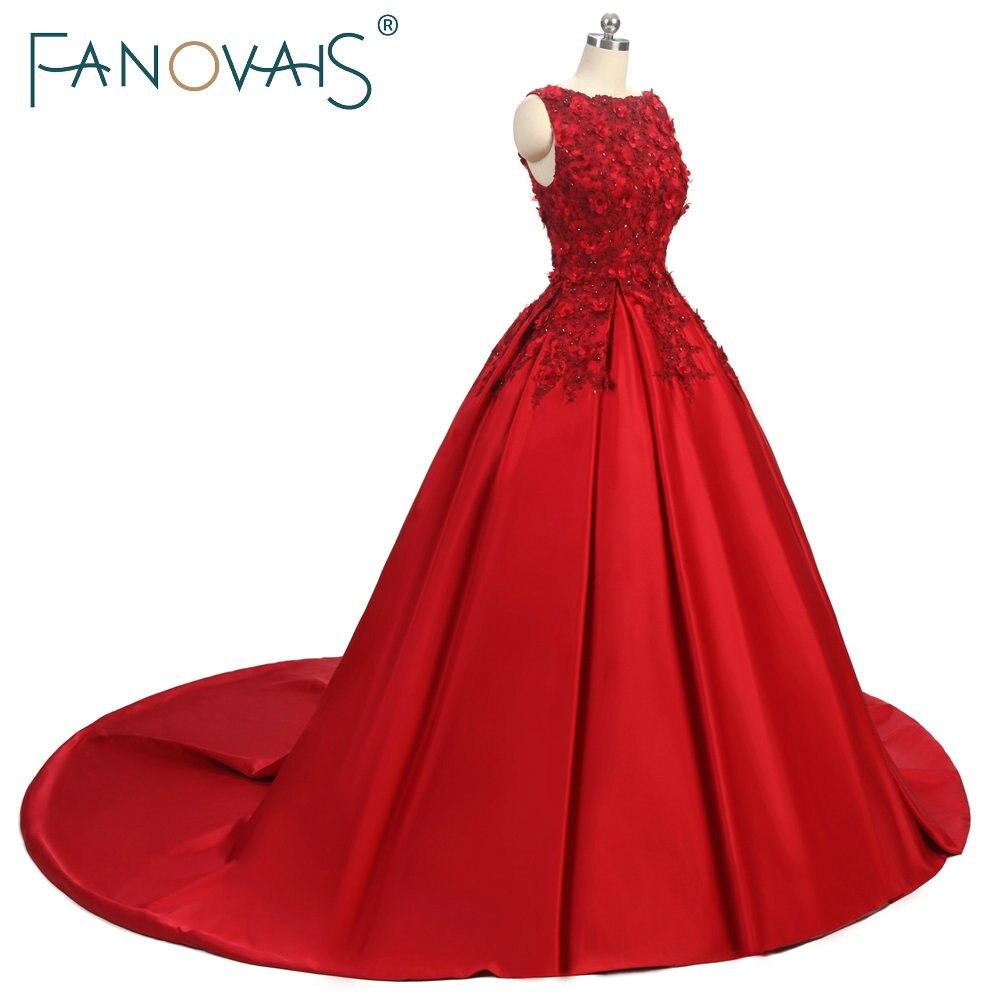 Suknie balowe proste burgundowe Koronkowe suknie wieczorowe 3D kwiat - Suknie specjalne okazje - Zdjęcie 2