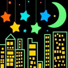 30/80PCS/sheet Luminous Moon Star Stickers Glow In The Dark for Baby Kids Bedroom Phone Case Decor Xmas Halloween Birthday Gift