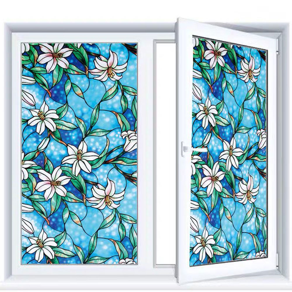 90*200cm Orchid Window Film Decorative Stained Glass Stickers Static No-Glue Privacy Frosted Opaque Sliding door Home Decor