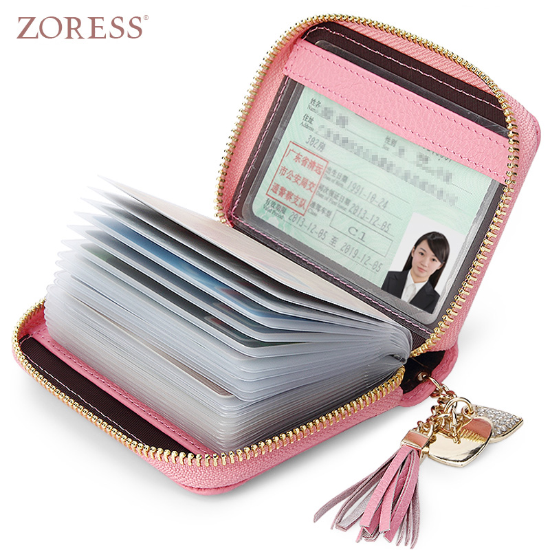 ZORESS Genuine Leather Women's Card Holder Wallets High Quality Female Zipper Credit Card Case Women Pouch Card holder Purse