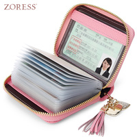 ZORESS Genuine Leather Women S Card Holder Wallets High Quality Female Zipper Credit Card Case Women