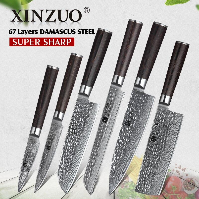 XINZUO 6 PCS Knife Set Kitchen Cutlery Japanese VG10 Damascus Forged Bread Santoku Chef Paring Utilities