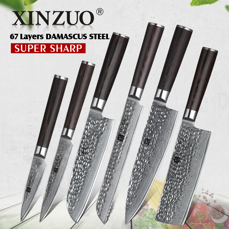 XINZUO 6 PCS Knife Set Kitchen Cutlery Japanese VG10 Damascus Forged Bread  Santoku Chef Paring Utilities
