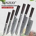 XINZUO VG10 6 PCS Faca Conjunto de Cozinha Talheres Japonês Damasco Forjado Pão Facas de Chef Faca Santoku Utilitários com Caixa de Presente