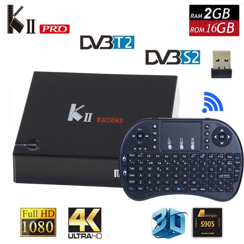 KII PRO DVB S2 DVB T2 S905d Android7.1 TV Box Quad Core 2GB 16GB K2 pro DVB T2 S2 4 K 2.4G/5G Double Wifi support cccam IPTV