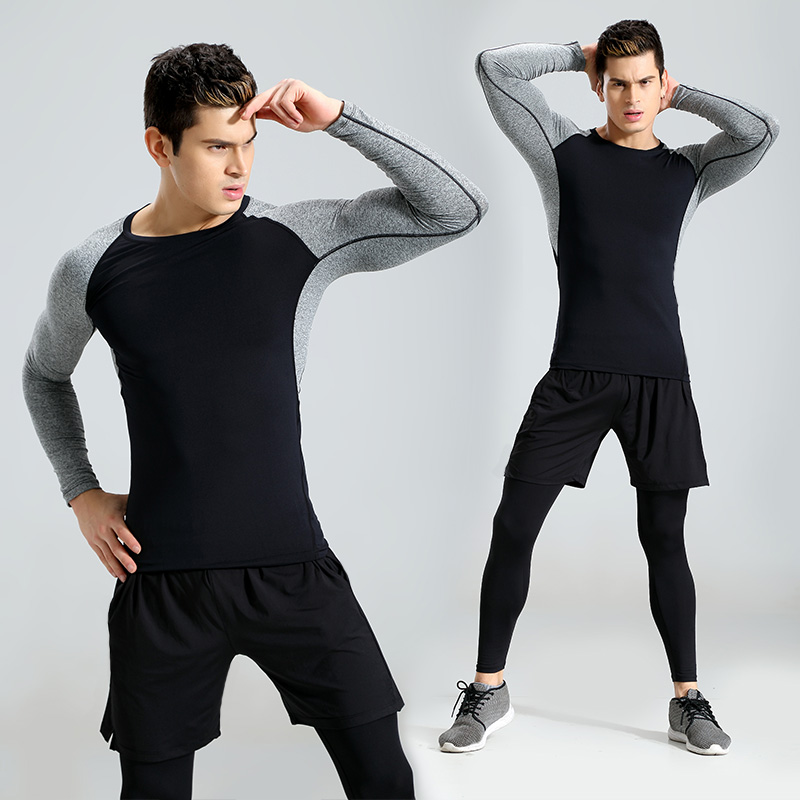 2017 New 3Pcs Running Set Men Solid Quick Dry Mens Sport Suit Fitness Tight Gym Clothing Training Suit Workout Men's Sportswear все цены