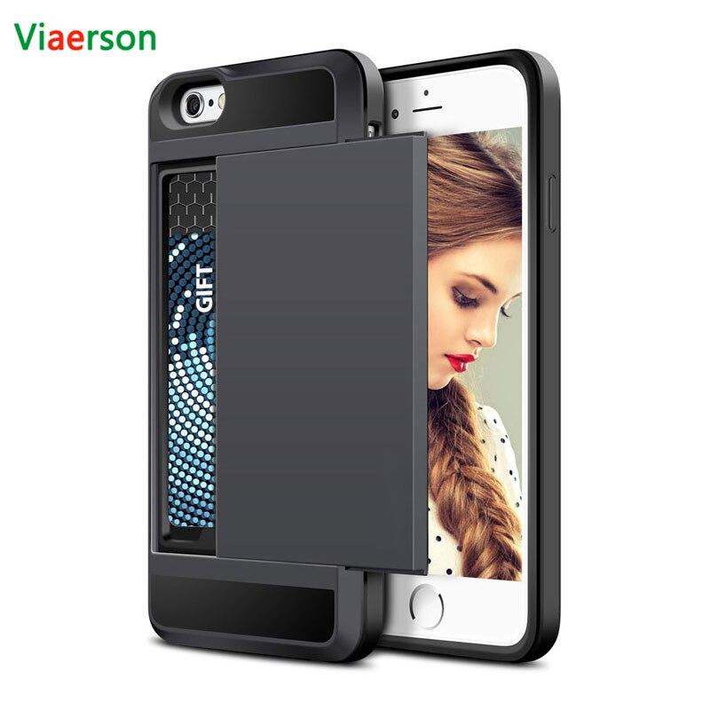 Слайд-кошелек слот Кредитные карты PC чехол для телефона iPhone 6 7 8×6 S плюс 5 s 5S se 5C двойной Слои ТПУ Панцири Противоударный задняя крышка