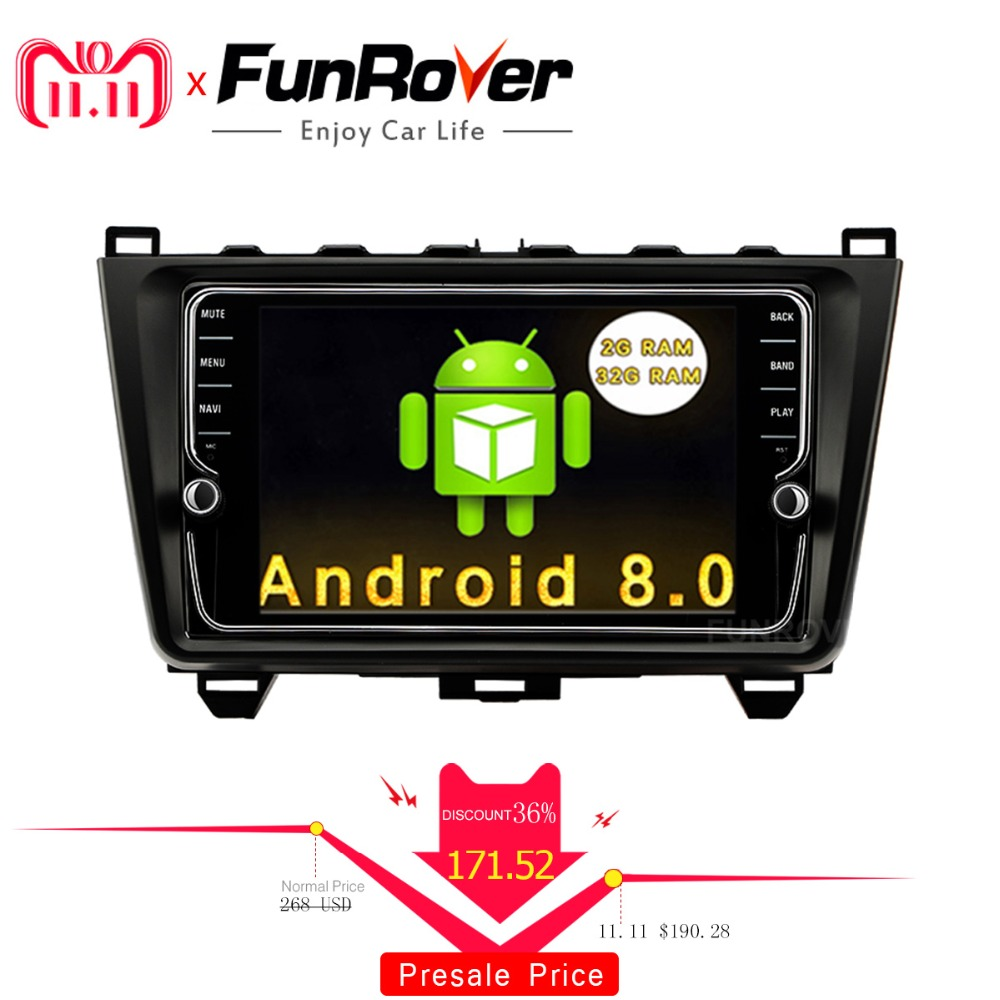 Funrover Android 8.0 8 Car DVD Multimedia Player Stereo for MAZDA 6 2008 -2015 GPS Navigation Steering-Wheel IPS Touch Screen