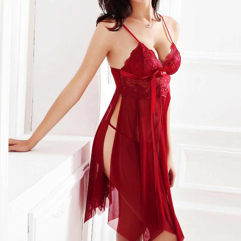 314e8557d5b2 Сексуальное женское белье Кружево разрезы Ночные сорочки Для женщин Пижама  Ночная сорочка халат v-образным