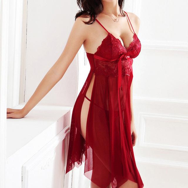 Women Nightgown Sexy Lingerie Lace Slits Nightdress V-neck Nightie Vintage Sleepwear