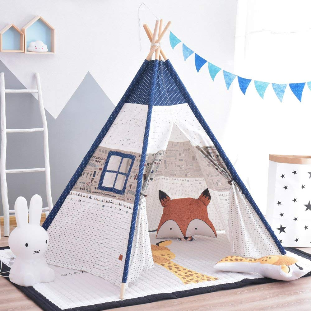 5-Pole Large Kids Play Teepee Tenr Childrens Tipi Tent Wigwam pink clouds teepee tent indoor childrens play tipi