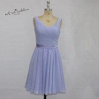 Cheap Lavender Wedding Party Dresses Knee Length Bridesmaid Dress Short Chiffon Vestido De Noiva Curto Imported