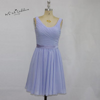 Cheap Lavender Wedding Party Dresses Knee Length Bridesmaid Dress Short Chiffon Vestido de Noiva Curto Imported Prom Dress 2017