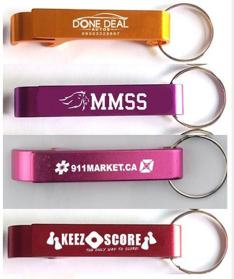 100pcs lot promotion customed printed logo gift Metal aluminum alloy bottle opener metal keychain laser LOGO