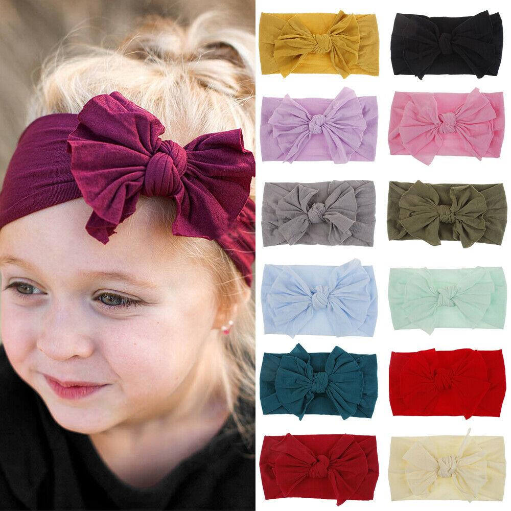Toddler Girls Kids Baby Bow Hairband Headband Stretch Turban Knot Head Wrap