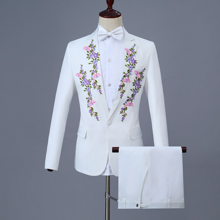 White Prom Embroidery <font><b>Suit</b></font> For <font><b>Men</b></font> Slim Fit <font><b>2018</b></font> Mew <font><b>Wedding</b></font> Part Club Smoking Masculino <font><b>Terno</b></font> Slim Fit Elegant <font><b>Men</b></font> <font><b>Suits</b></font> 2Piece image