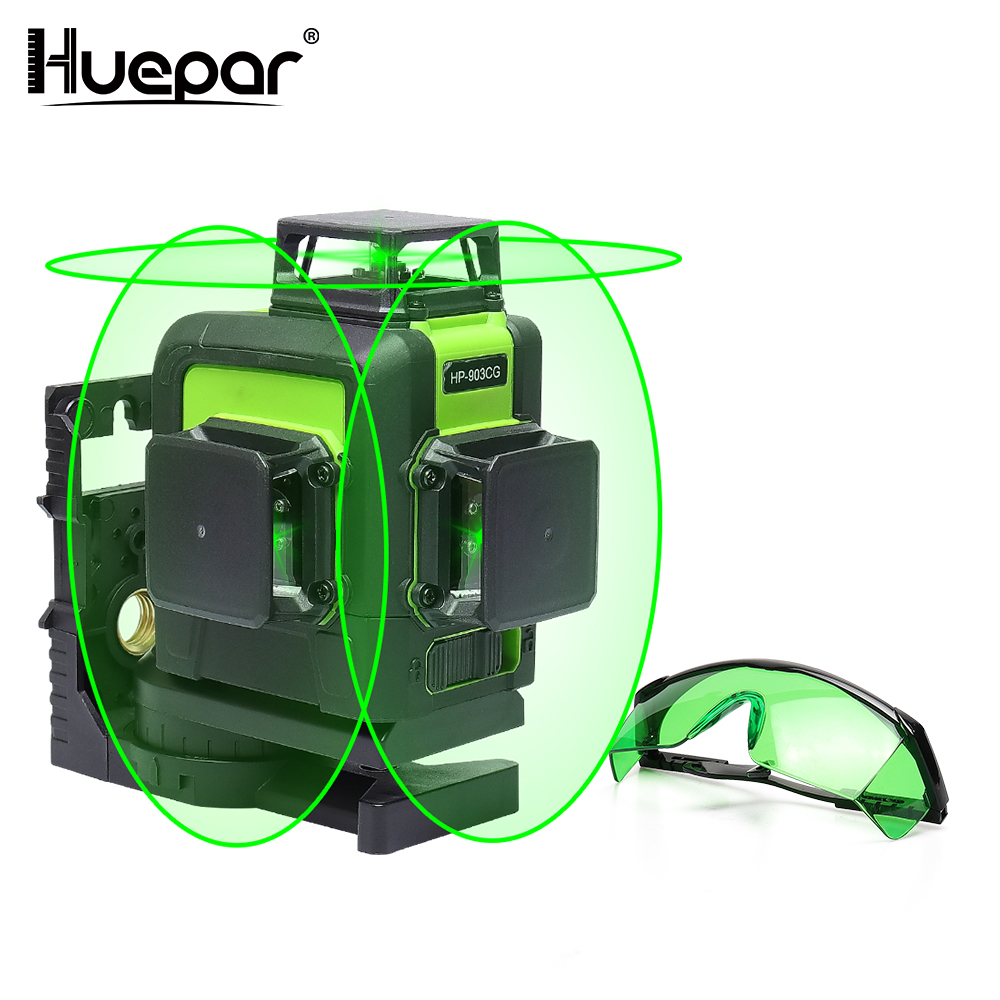 Huepar 12 Lines 3D Cross Line Laser Level Green Laser Beam Self-Leveling 360 Vertical & Horizontal Red Laser Enhancement Glasses