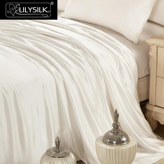 Lilysilk All Season Silk Covered Silk Comforter 100% pure and natural long strand silk floss Free Shipping