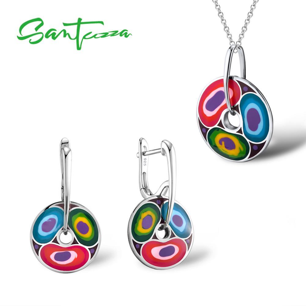 Santuzza Silver Jewelry Sets for Women HANDMADE Colorful Enamel Jewelry Set Earrings Pendant Jewelry Set Party Fashion Jewelry