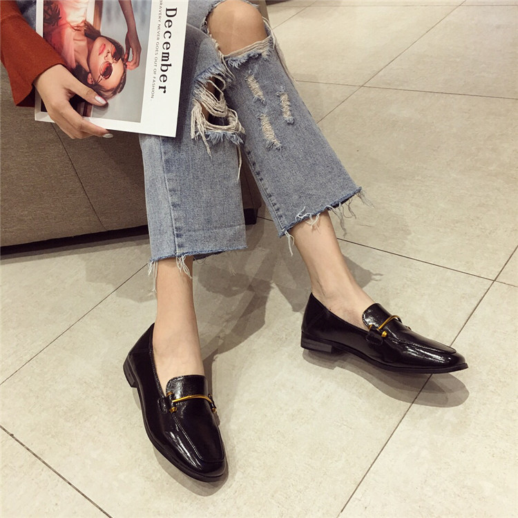 Fashion shoes for women 2018 new soft bottom British shoes woman square head single shoes female thick with flat shoes loafers 65
