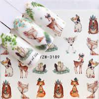 WUF 1 PC Deer flor transferencia de agua uñas arte pegatina belleza calcomanía uñas arte decoraciones