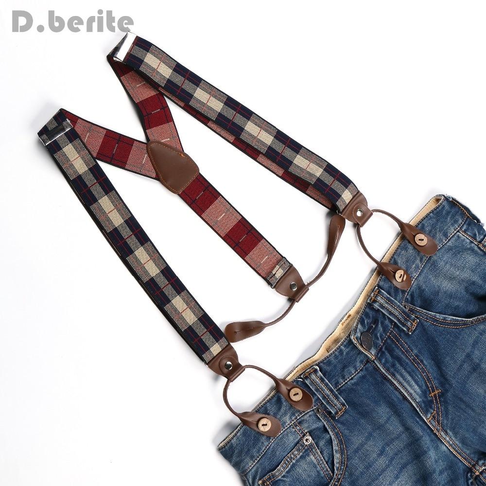 Men's Adjustable 6 Buttons Holes Elastic Suspenders Unisex Plaid Braces 3.5cm Width BD776