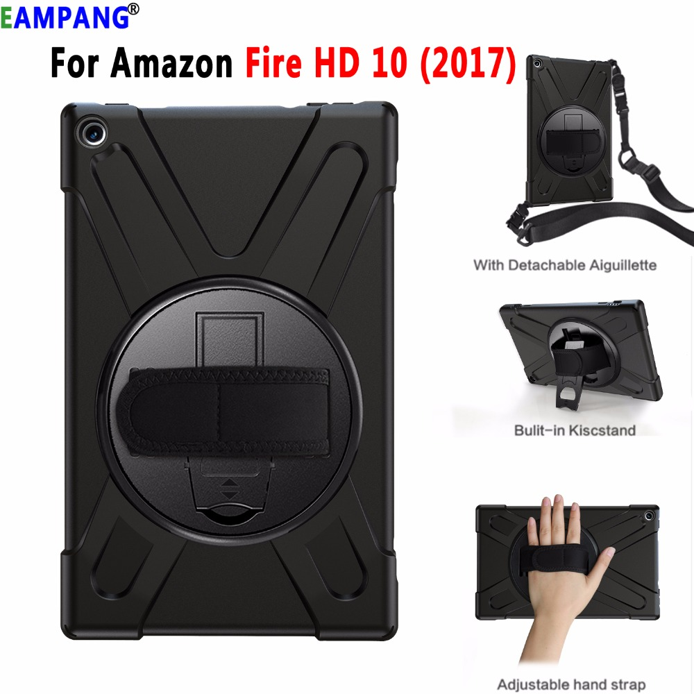 Shockproof Drop Resistance Silicon Cover With Hand Shoulder Strap For Amazon Fire HD 10 2017 Case Funda Coque Shell Stand Holder
