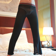 Sexy Men See Through Loose Mesh Sheer Lounge Pants Loose-fitting Fitness Pants Sleep Pant Black White XL