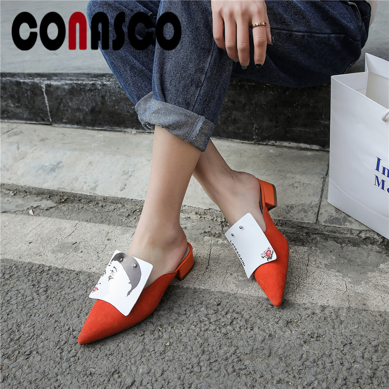 CONASCO Women Casual Pumps Quality Genuine Leather Sqaure Heels Spring Summer Leisure Working Shoes Woman Basic Shallowed ShoesCONASCO Women Casual Pumps Quality Genuine Leather Sqaure Heels Spring Summer Leisure Working Shoes Woman Basic Shallowed Shoes