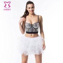 35a8007aa6fe5 White Resin Gems Beading Bralette Crop Top Push Up Brassiere Sexy Belly  Dance Bra Skirt Set Women Clubwear Plus Size Bustier XXL