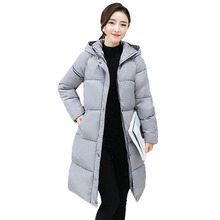 Women's Winter Coat Basic Parka Thicken Warm Hooded Long Sleeve Quilted Jacket Female Long Down Cotton Wadded Coat Outwear