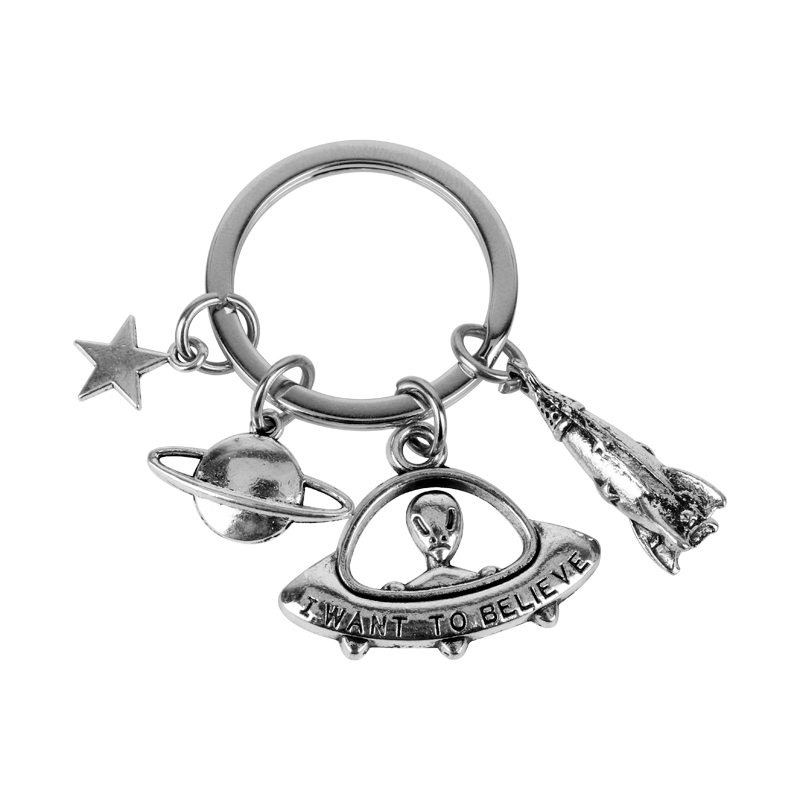 MQCHUN Hot Movie The X Files I Want To Believe Alien UFO Spaceship Keychain Pendant Charm Gift For Men Women Keyring Key Chains