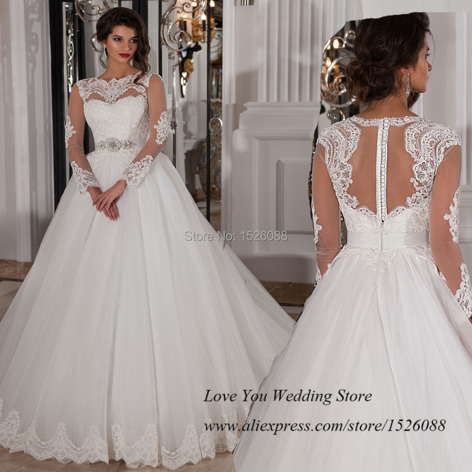 Aliexpress.com : Buy 2015 Fitted Long Sleeve Wedding Dress Lace Ball ...