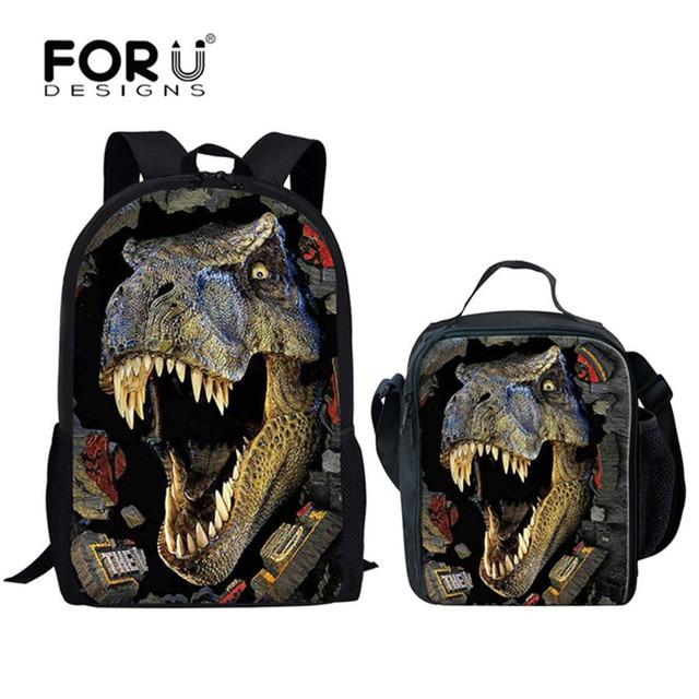 bf2a7bee20b55 FORUDESIGNS dinozaur 3D zestaw do drukowania szkoła plecaki dla chłopców  tornister ortopedyczne tornister dzieci dzieci książka torba na ramię 2019