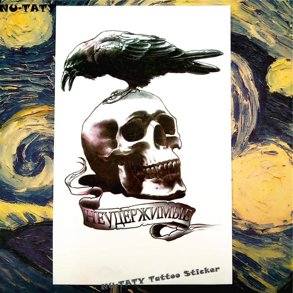 Nu-TATY Raven Crow Skull Temporary Tattoo Body Art Sleeve Arm Flash Tattoo Stickers 12*20cm Waterproof Tatto Henna Fake Sticker